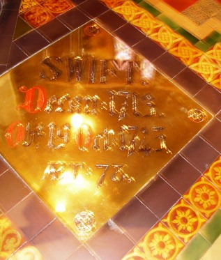 Tile in front of Jonathan Swift's Tomb