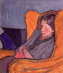 V Woolf knitting portrait