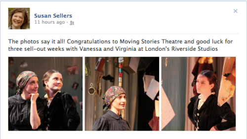 "A screen shot of Susan Sellers' Facebook post about ""Vanessa and Virginia"""