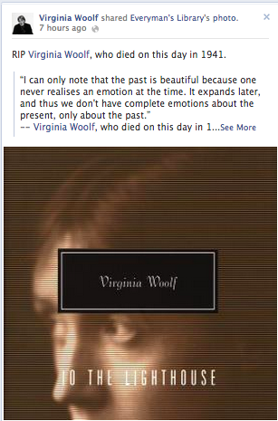 Virginia Woolf Author Facebook post