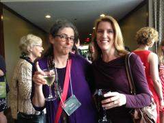 Vara Neverow and Kristin Czarnecki at the opening night reception in the hotel's Room at the Top