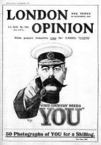 1st appearance of Lord Kitchener's recruiting image