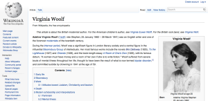 Woolf on Wikipedia