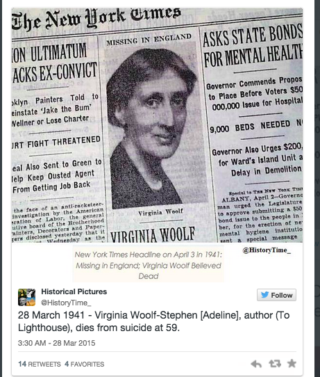 In memory of Virginia Woolf 74 years later: From social
