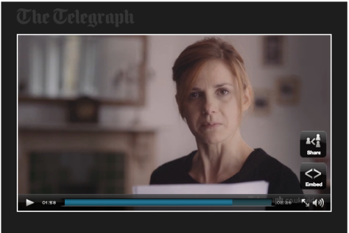 Screenshot of Louise Brealey reading Woolf's last letter on The Telegraph website.