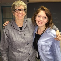 Conference organizer Julie Vandivere and student intern Emma Slotterback