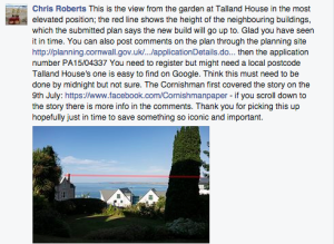 Facebook post from St. Ives resident