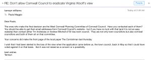 Screenshot of St. Ives Deputy Mayor Tamsyn Williams's email regarding the vote by St. Ives Town Council on the proposed plan