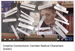 A screenshot of the YouTube video trailer for Camden Connections that shows the Virginia Woolf portrait