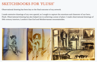 Screenshot of her sketchbook for Flush.