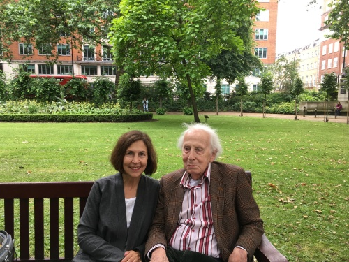 Cecil and I on a bench in Tavistock Square garden. Virginia and Leonard lived at 52 Tavistock Square from 1924-1939.